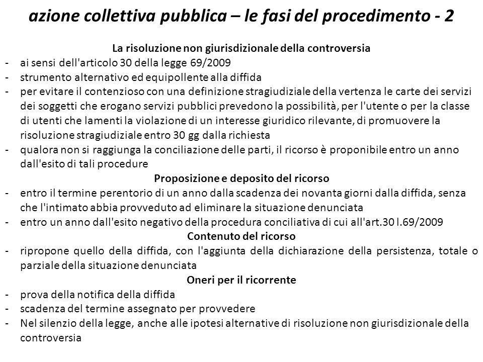 azione collettiva pubblica – le fasi del procedimento - 2 La risoluzione non giurisdizionale della controversia -ai sensi dell'articolo 30 della legge