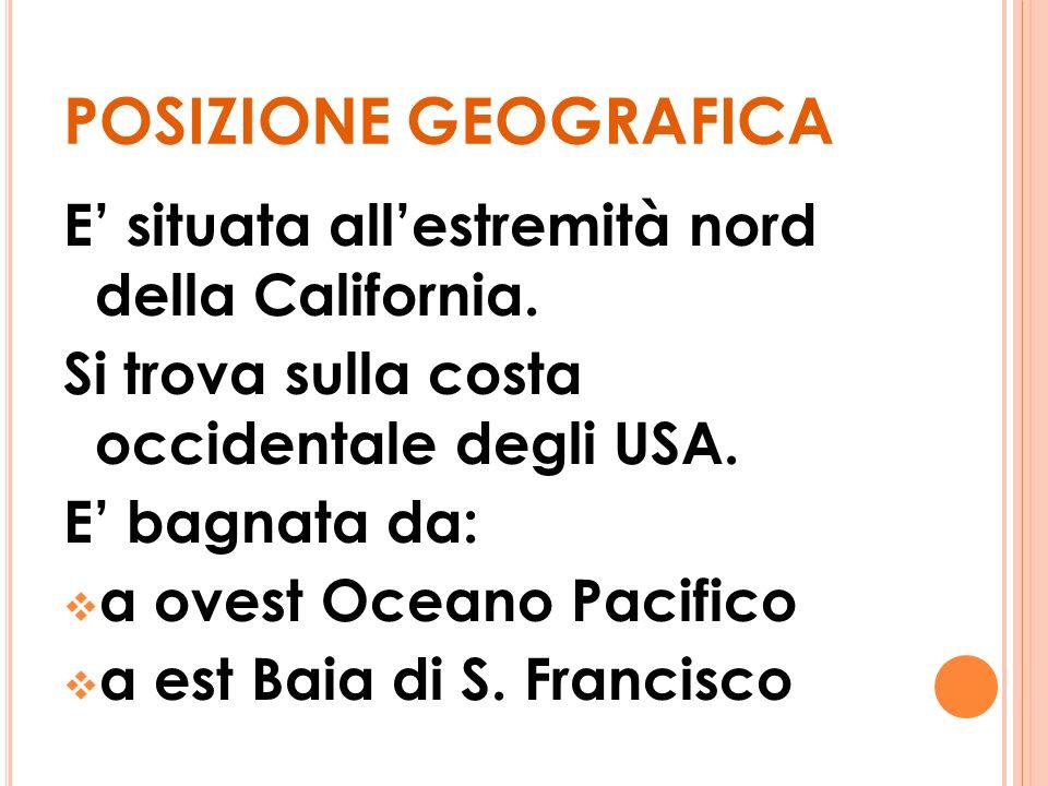 POSIZIONE GEOGRAFICA E situata allestremità nord della California.