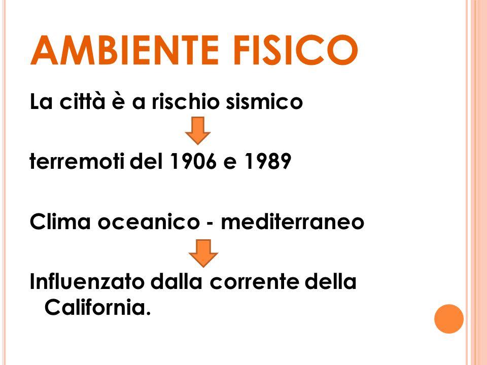 AMBIENTE FISICO La città è a rischio sismico terremoti del 1906 e 1989 Clima oceanico - mediterraneo Influenzato dalla corrente della California.