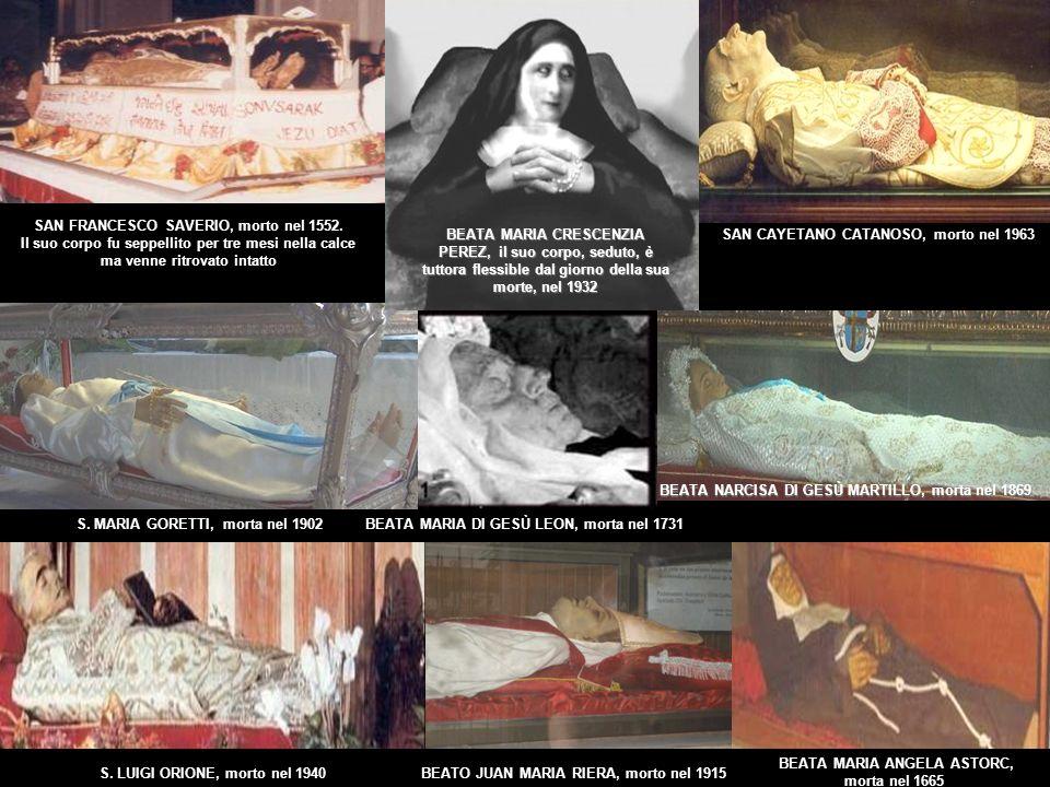 La maggior parte dei corpi incorrotti dei santi, sanguinano se vengono tagliati in qualsiasi parte dei loro resti, nonostante sono morti da secoli, come è il caso di Santa Teresa d Avila.