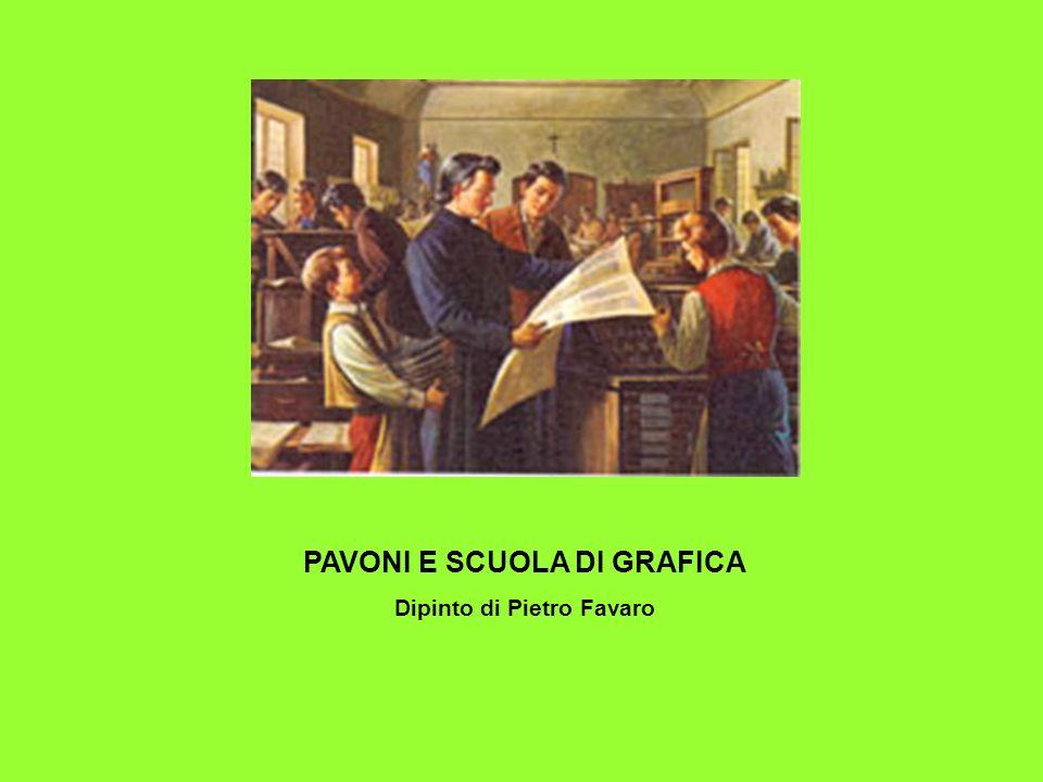 PAVONI E SCUOLA DI GRAFICA Dipinto di Pietro Favaro
