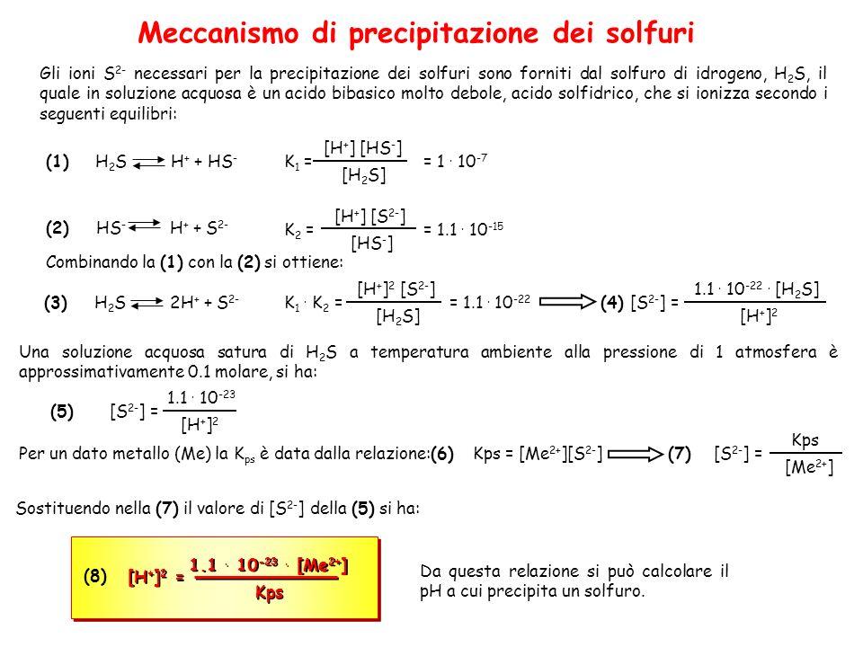 Meccanismo di precipitazione dei solfuri Gli ioni S 2- necessari per la precipitazione dei solfuri sono forniti dal solfuro di idrogeno, H 2 S, il quale in soluzione acquosa è un acido bibasico molto debole, acido solfidrico, che si ionizza secondo i seguenti equilibri: (1)H 2 S H + + HS - (2)HS - H + + S 2- [H 2 S] [H + ] [HS - ] K 1 = = 1.