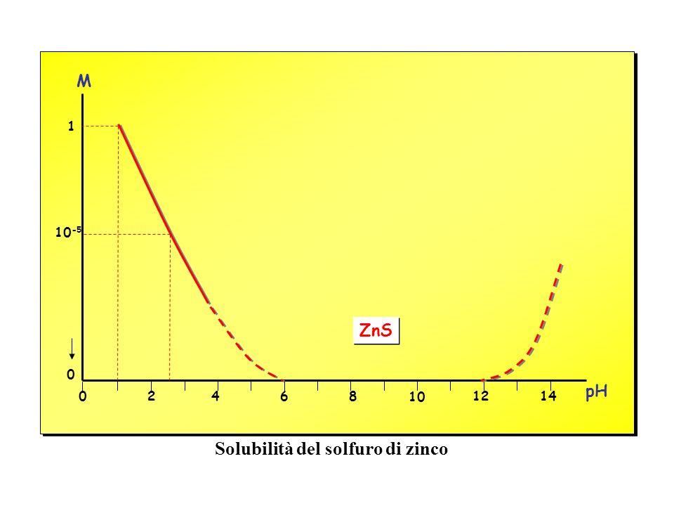 02468 10 1214 0 ZnS pH 10 -5 1 M Solubilità del solfuro di zinco