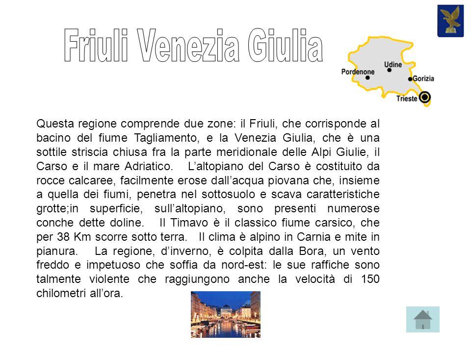 Questa regione comprende due zone: il Friuli, che corrisponde al bacino del fiume Tagliamento, e la Venezia Giulia, che è una sottile striscia chiusa fra la parte meridionale delle Alpi Giulie, il Carso e il mare Adriatico.