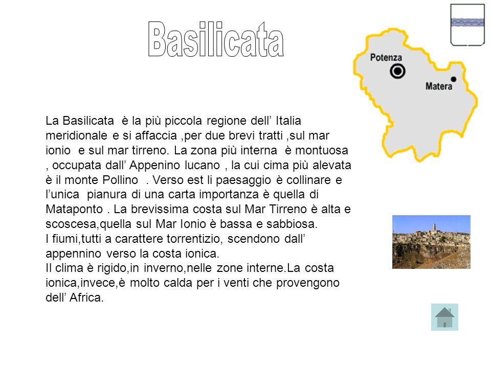 La Basilicata è la più piccola regione dell Italia meridionale e si affaccia,per due brevi tratti,sul mar ionio e sul mar tirreno.
