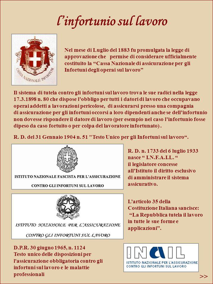 linfortunio sul lavoro Il sistema di tutela contro gli infortuni sul lavoro trova le sue radici nella legge 17.3.1898 n.