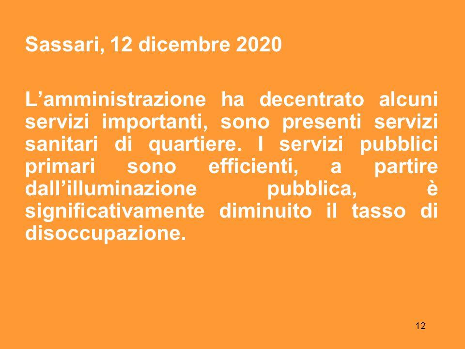 12 Sassari, 12 dicembre 2020 Lamministrazione ha decentrato alcuni servizi importanti, sono presenti servizi sanitari di quartiere.