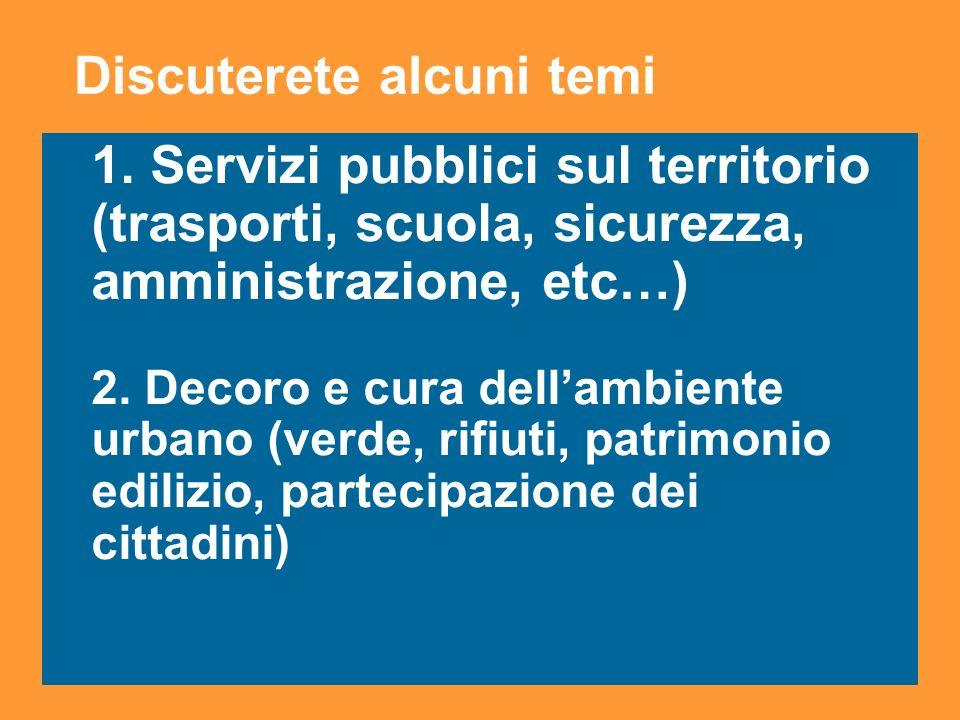 14 1. Servizi pubblici sul territorio (trasporti, scuola, sicurezza, amministrazione, etc…) 2.