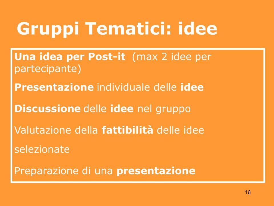 16 Una idea per Post-it (max 2 idee per partecipante) Presentazione individuale delle idee Discussione delle idee nel gruppo Valutazione della fattibilità delle idee selezionate Preparazione di una presentazione Gruppi Tematici: idee