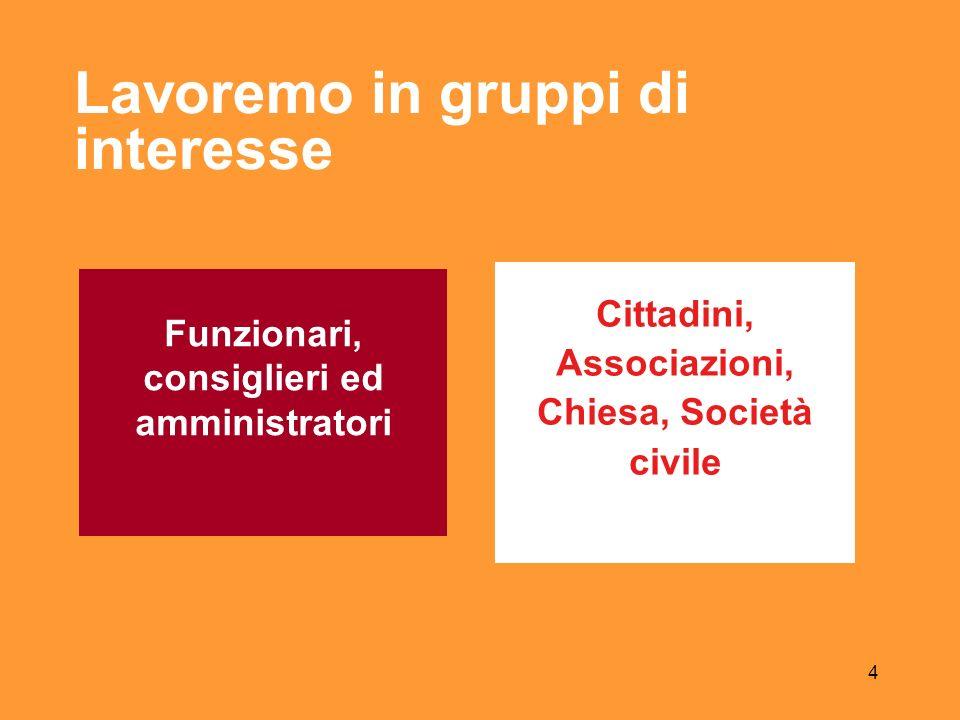 4 Lavoremo in gruppi di interesse Funzionari, consiglieri ed amministratori Cittadini, Associazioni, Chiesa, Società civile