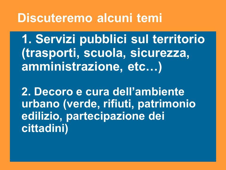 5 1. Servizi pubblici sul territorio (trasporti, scuola, sicurezza, amministrazione, etc…) 2.