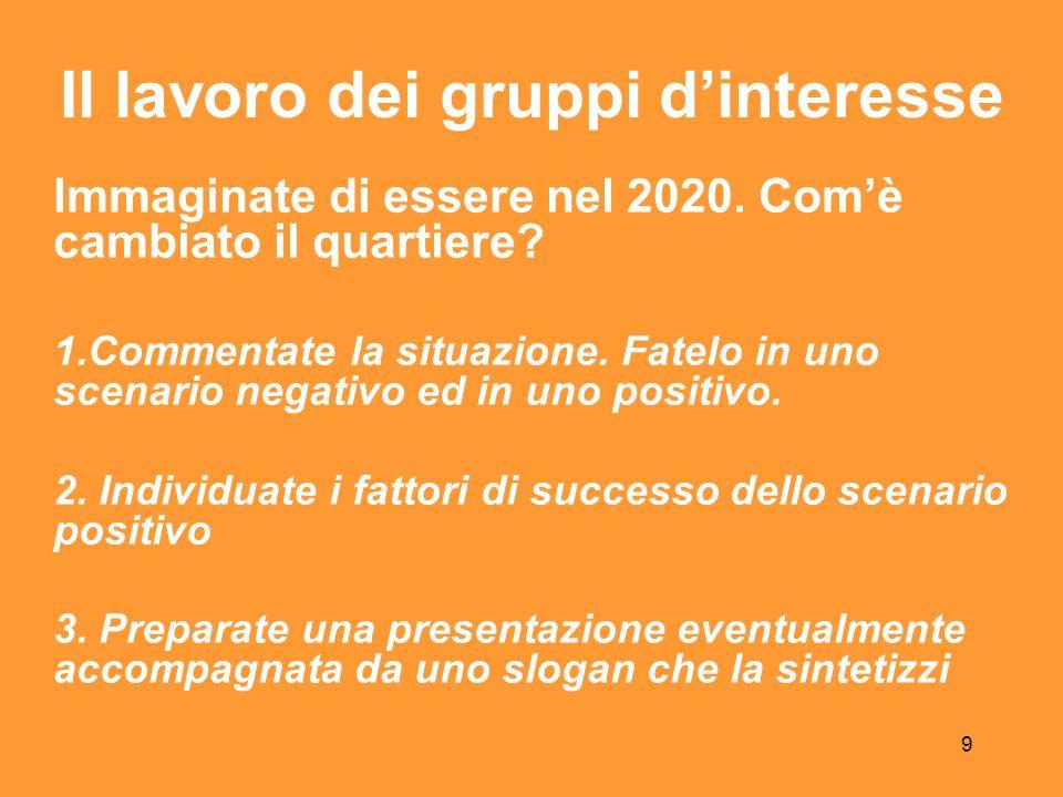 9 Il lavoro dei gruppi dinteresse Immaginate di essere nel 2020.