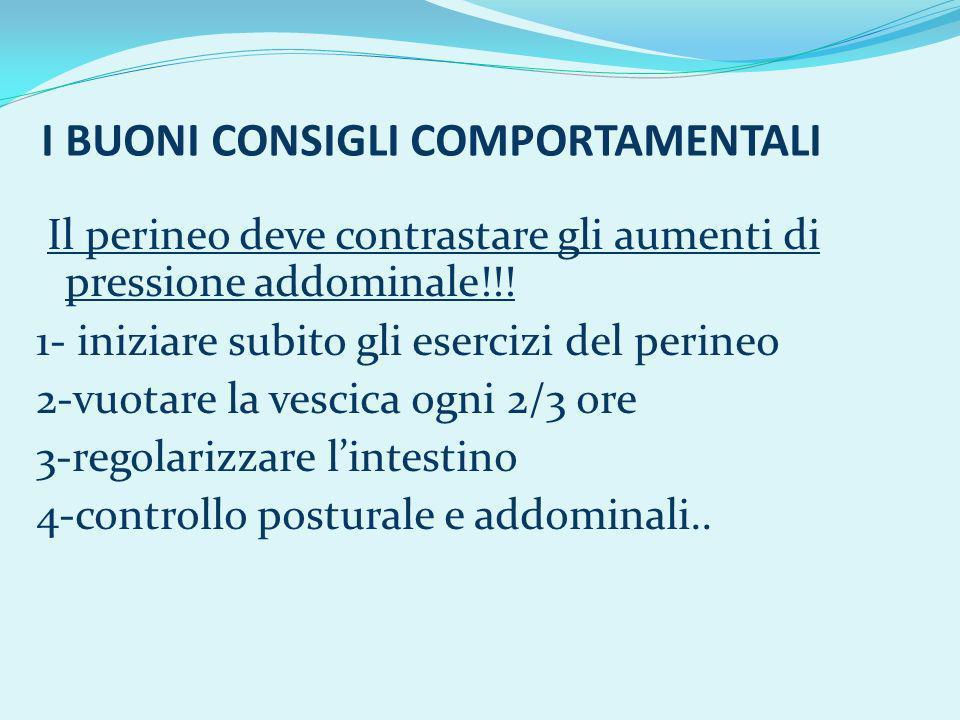 I BUONI CONSIGLI COMPORTAMENTALI Il perineo deve contrastare gli aumenti di pressione addominale!!! 1- iniziare subito gli esercizi del perineo 2-vuot