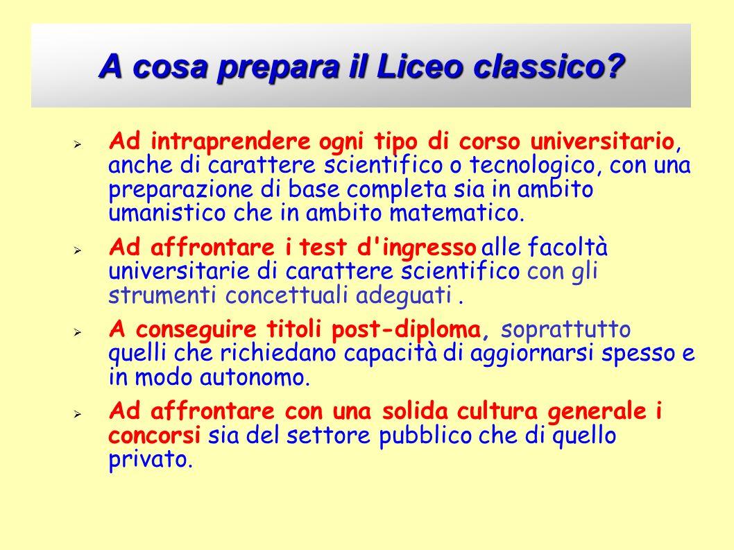 A cosa prepara il Liceo classico? Ad intraprendere ogni tipo di corso universitario, anche di carattere scientifico o tecnologico, con una preparazion