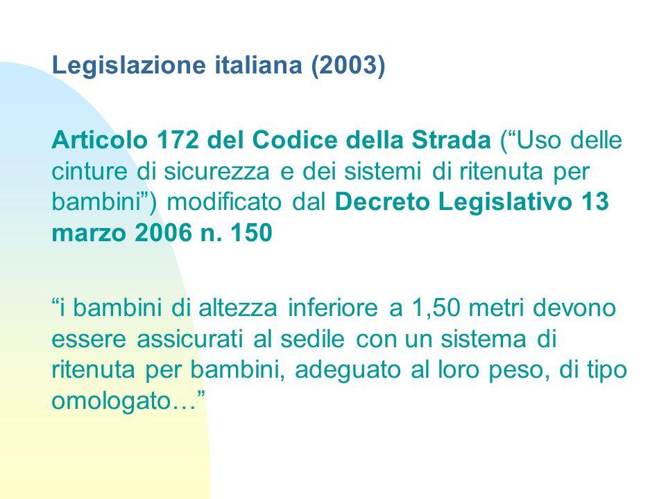 Legislazione italiana (2003) Articolo 172 del Codice della Strada (Uso delle cinture di sicurezza e dei sistemi di ritenuta per bambini) modificato dal Decreto Legislativo 13 marzo 2006 n.
