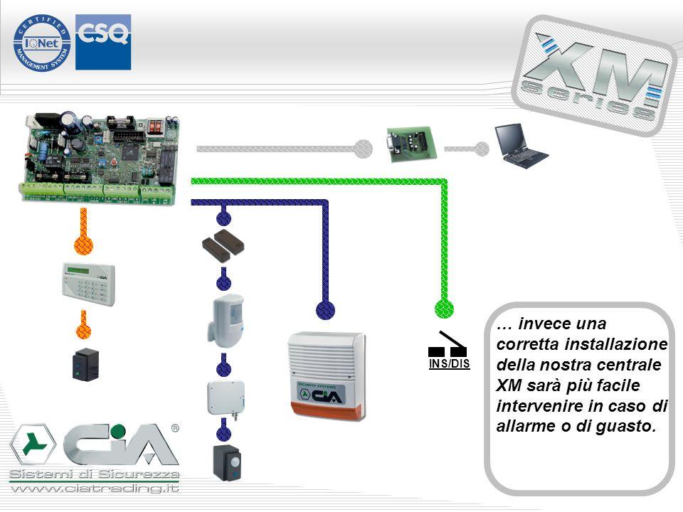 INS/DIS … invece una corretta installazione della nostra centrale XM sarà più facile intervenire in caso di allarme o di guasto.