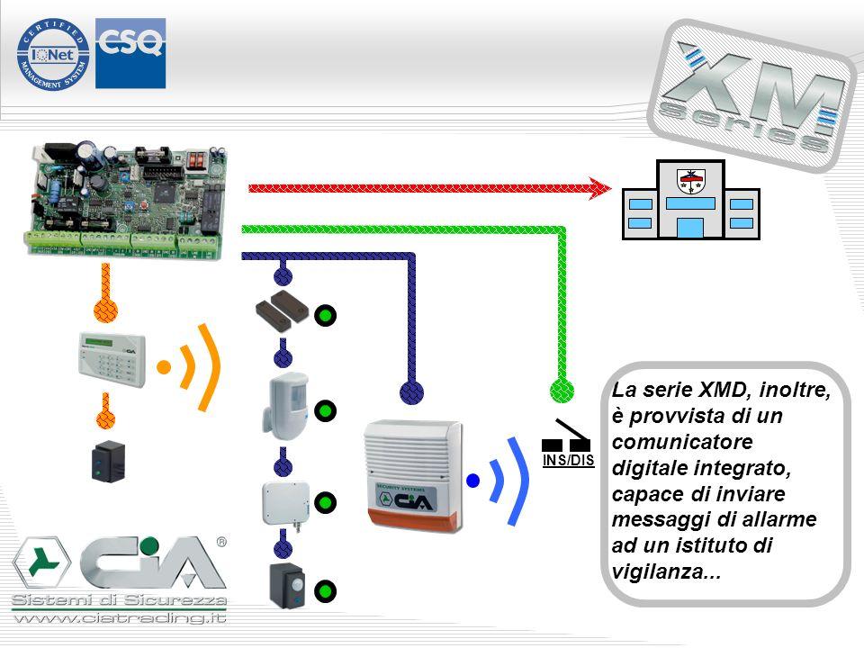La serie XMD, inoltre, è provvista di un comunicatore digitale integrato, capace di inviare messaggi di allarme ad un istituto di vigilanza...