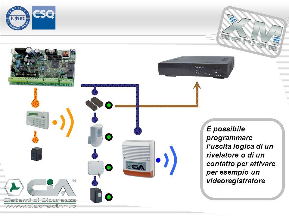 È possibile programmare luscita logica di un rivelatore o di un contatto per attivare per esempio un videoregistratore