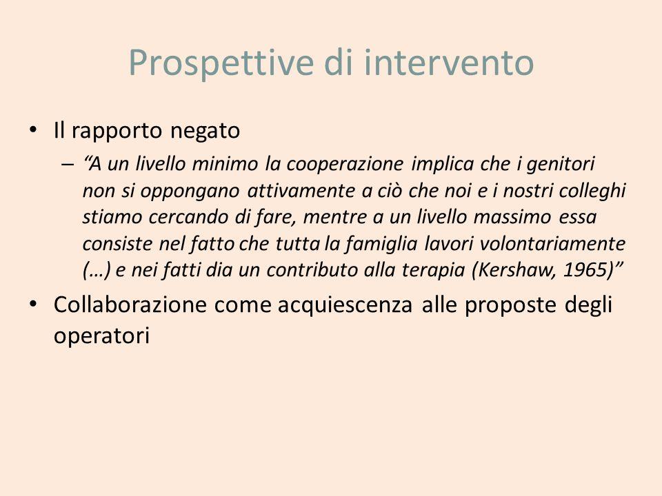 Prospettive di intervento Il rapporto negato – A un livello minimo la cooperazione implica che i genitori non si oppongano attivamente a ciò che noi e