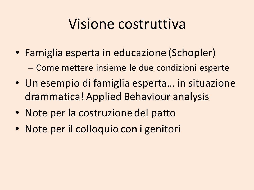 Visione costruttiva Famiglia esperta in educazione (Schopler) – Come mettere insieme le due condizioni esperte Un esempio di famiglia esperta… in situ