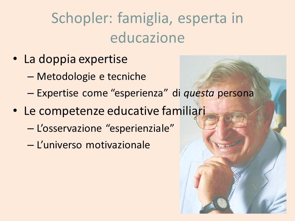 Schopler: famiglia, esperta in educazione La doppia expertise – Metodologie e tecniche – Expertise come esperienza di questa persona Le competenze edu