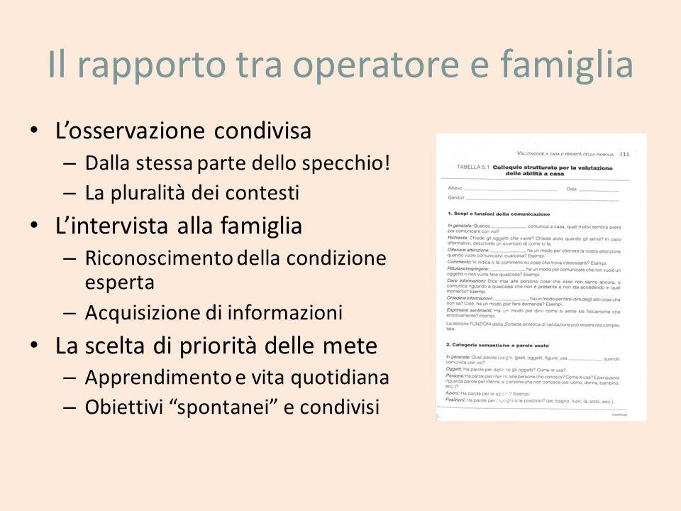 Il rapporto tra operatore e famiglia Losservazione condivisa – Dalla stessa parte dello specchio! – La pluralità dei contesti Lintervista alla famigli