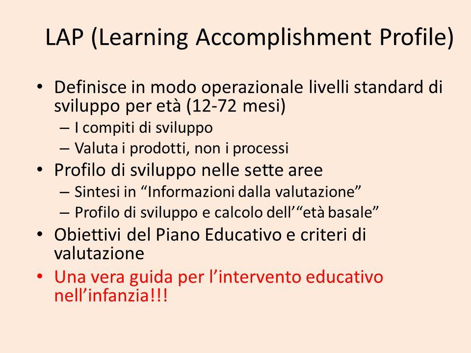 LAP (Learning Accomplishment Profile) Definisce in modo operazionale livelli standard di sviluppo per età (12-72 mesi) – I compiti di sviluppo – Valut