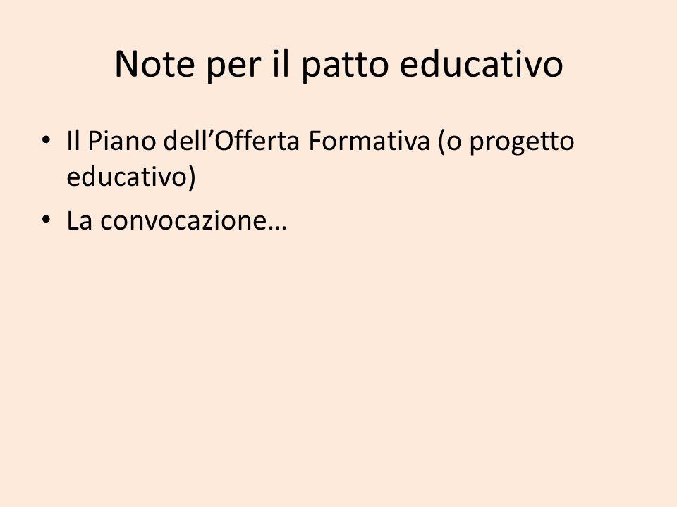 Note per il patto educativo Il Piano dellOfferta Formativa (o progetto educativo) La convocazione…