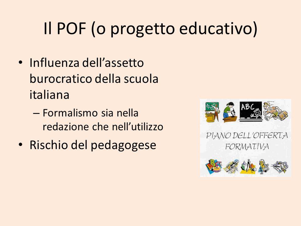 Il POF (o progetto educativo) Influenza dellassetto burocratico della scuola italiana – Formalismo sia nella redazione che nellutilizzo Rischio del pe