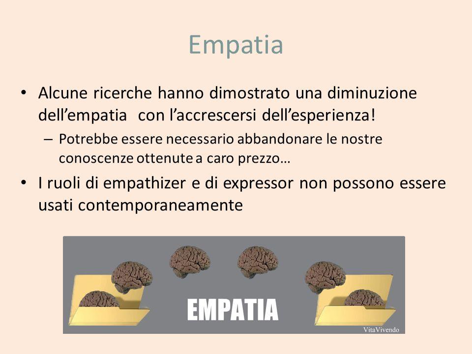 Empatia Alcune ricerche hanno dimostrato una diminuzione dellempatia con laccrescersi dellesperienza! – Potrebbe essere necessario abbandonare le nost