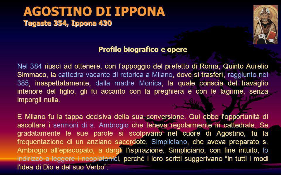 AGOSTINO DI IPPONA Tagaste 354, Ippona 430 Profilo biografico e opere Nel 384 riuscì ad ottenere, con lappoggio del prefetto di Roma, Quinto Aurelio S