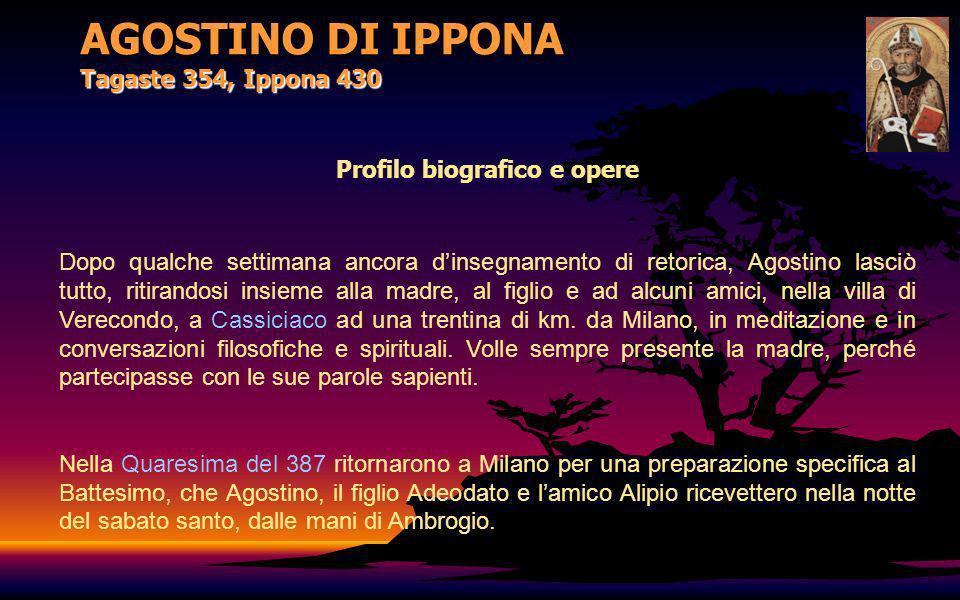 AGOSTINO DI IPPONA Tagaste 354, Ippona 430 Profilo biografico e opere Dopo qualche settimana ancora dinsegnamento di retorica, Agostino lasciò tutto,
