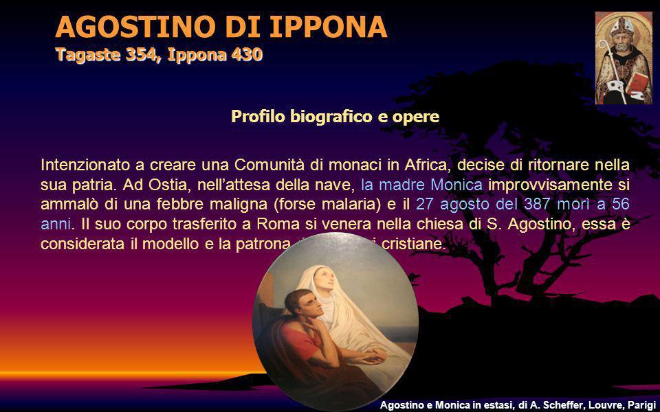 AGOSTINO DI IPPONA Tagaste 354, Ippona 430 Profilo biografico e opere Intenzionato a creare una Comunità di monaci in Africa, decise di ritornare nell