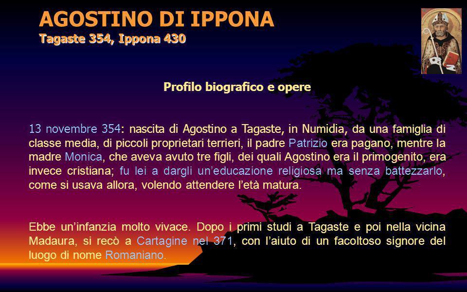 AGOSTINO DI IPPONA Tagaste 354, Ippona 430 Profilo biografico e opere Nonostante cercasse di rifiutare, perché non era questa la strada da lui voluta, Agostino fu costretto ad accettare.