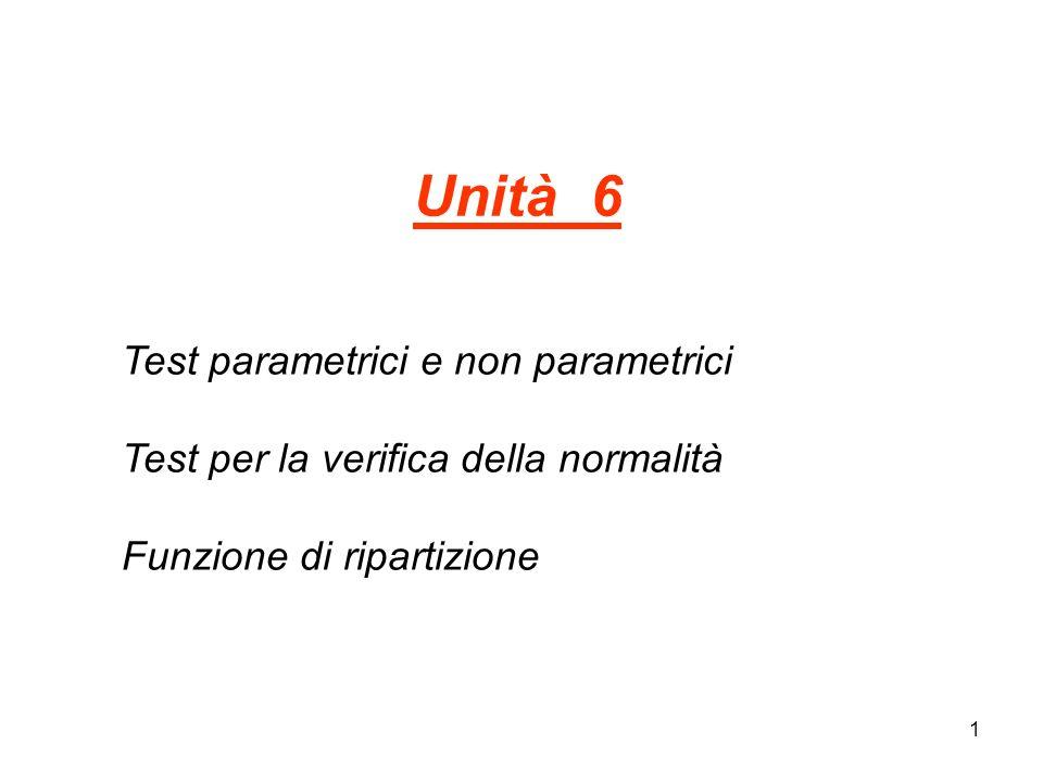 1 Unità 6 Test parametrici e non parametrici Test per la verifica della normalità Funzione di ripartizione