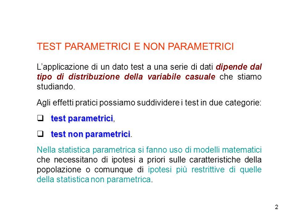 2 TEST PARAMETRICI E NON PARAMETRICI Lapplicazione di un dato test a una serie di dati dipende dal tipo di distribuzione della variabile casuale che s