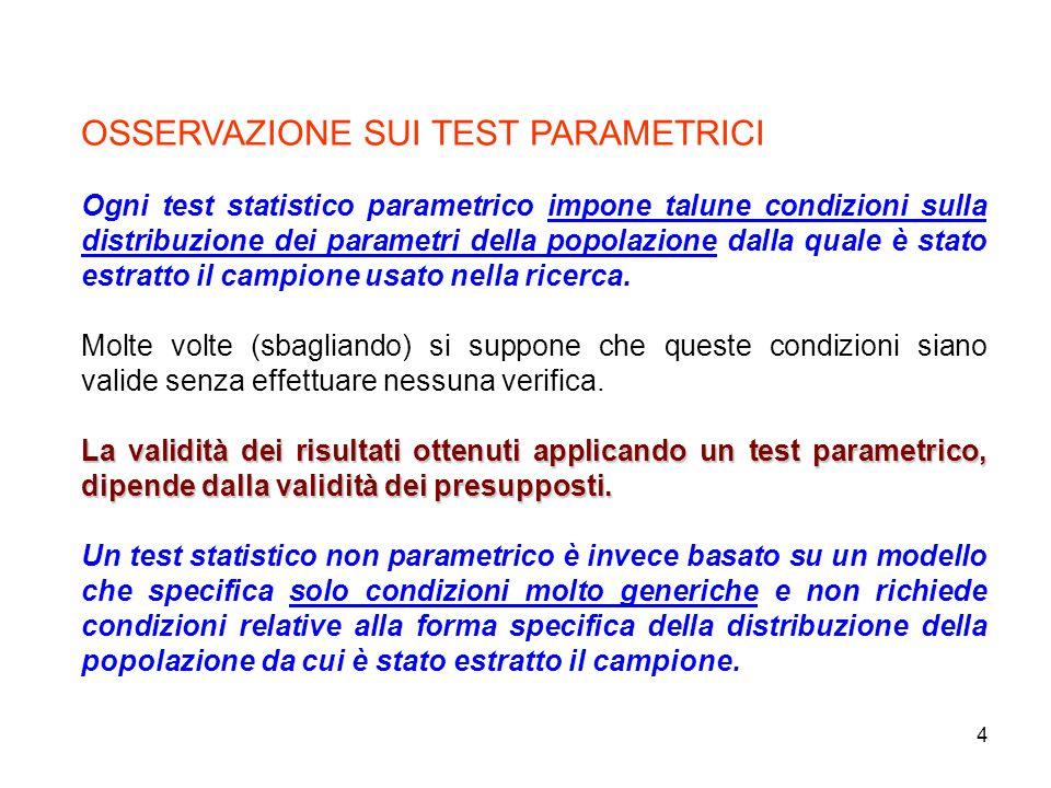 4 OSSERVAZIONE SUI TEST PARAMETRICI Ogni test statistico parametrico impone talune condizioni sulla distribuzione dei parametri della popolazione dall