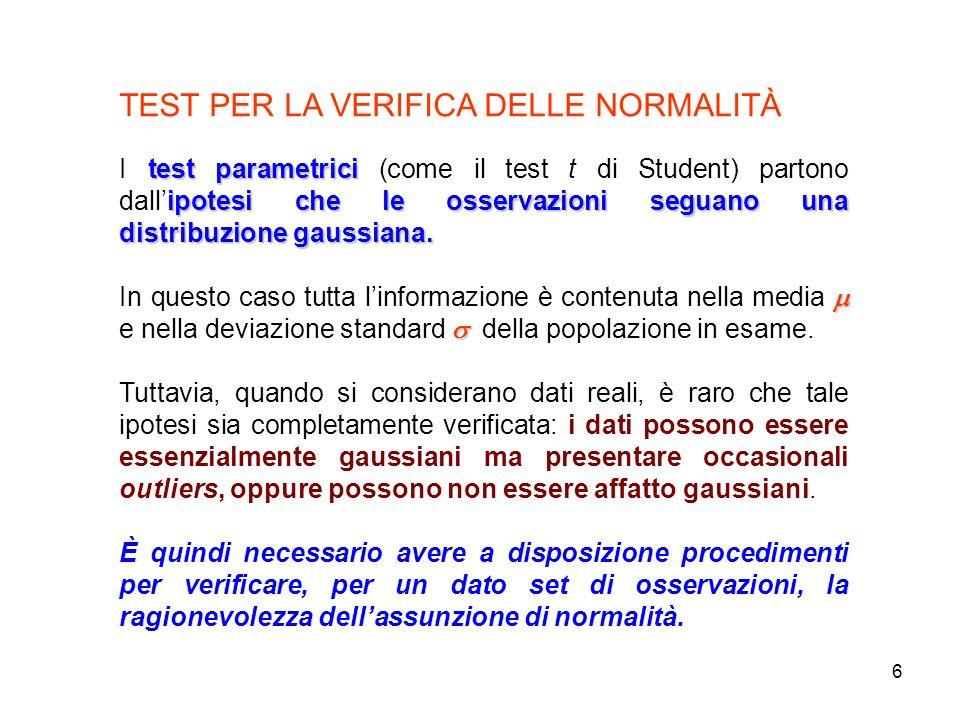 6 TEST PER LA VERIFICA DELLE NORMALITÀ test parametrici ipotesi che le osservazioni seguano una distribuzione gaussiana. I test parametrici (come il t