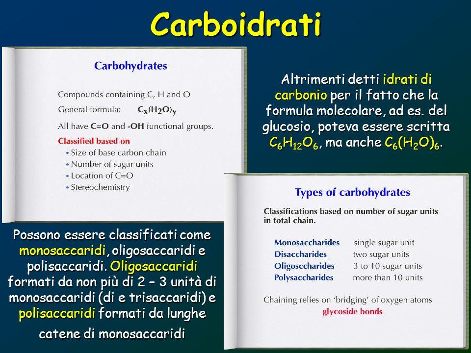 Carboidrati Altrimenti detti idrati di carbonio per il fatto che la formula molecolare, ad es. del glucosio, poteva essere scritta C 6 H 12 O 6, ma an