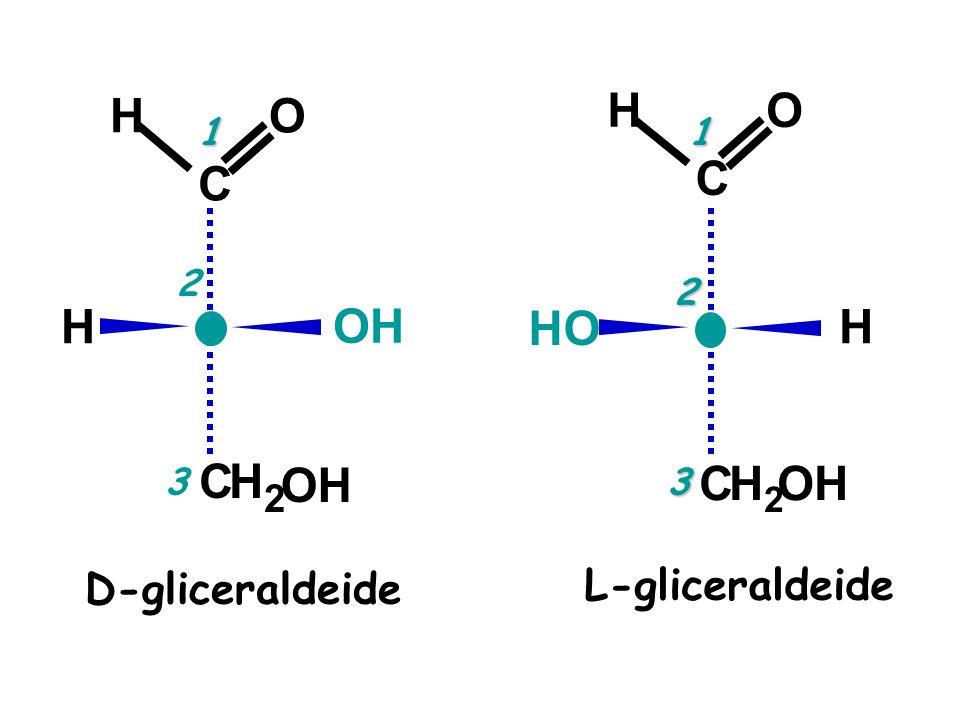 D-gliceraldeide O C H H2H2 OH C H H2H2 C H HO L-gliceraldeide O C H 1 2 3 1 2 3