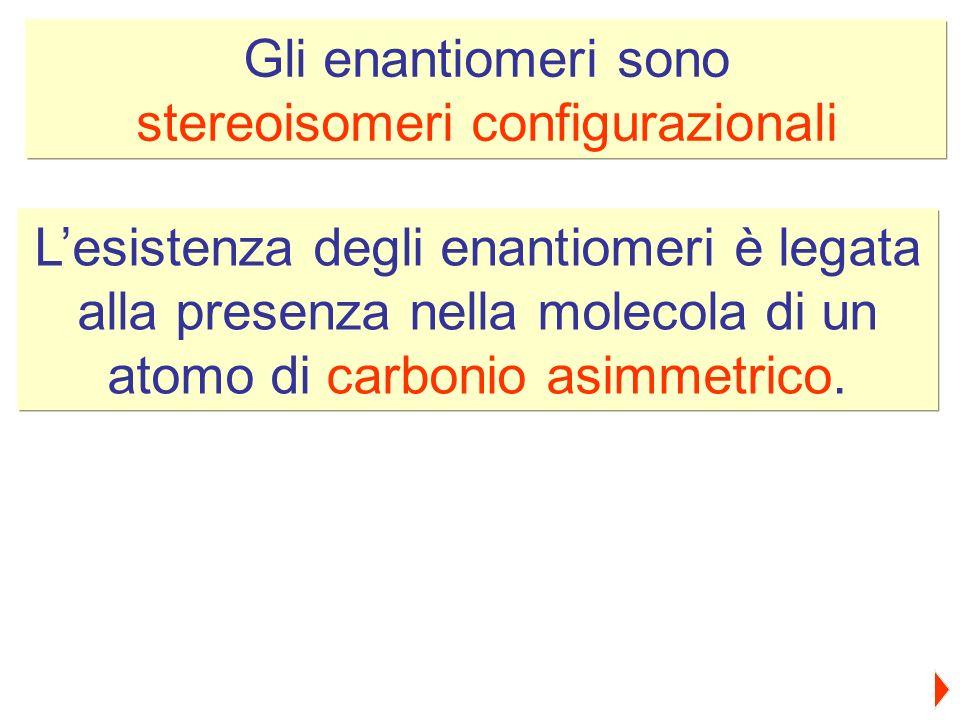 Gli enantiomeri sono stereoisomeri configurazionali Lesistenza degli enantiomeri è legata alla presenza nella molecola di un atomo di carbonio asimmet