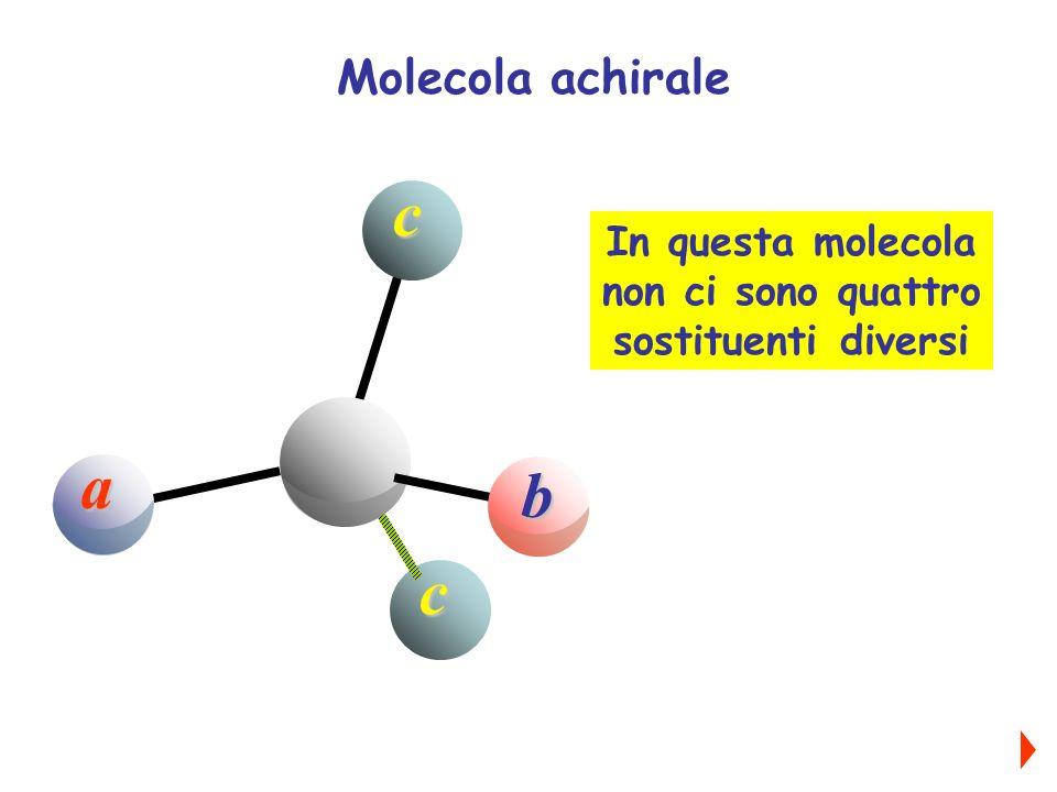 a b cc In questa molecola non ci sono quattro sostituenti diversi Molecola achirale