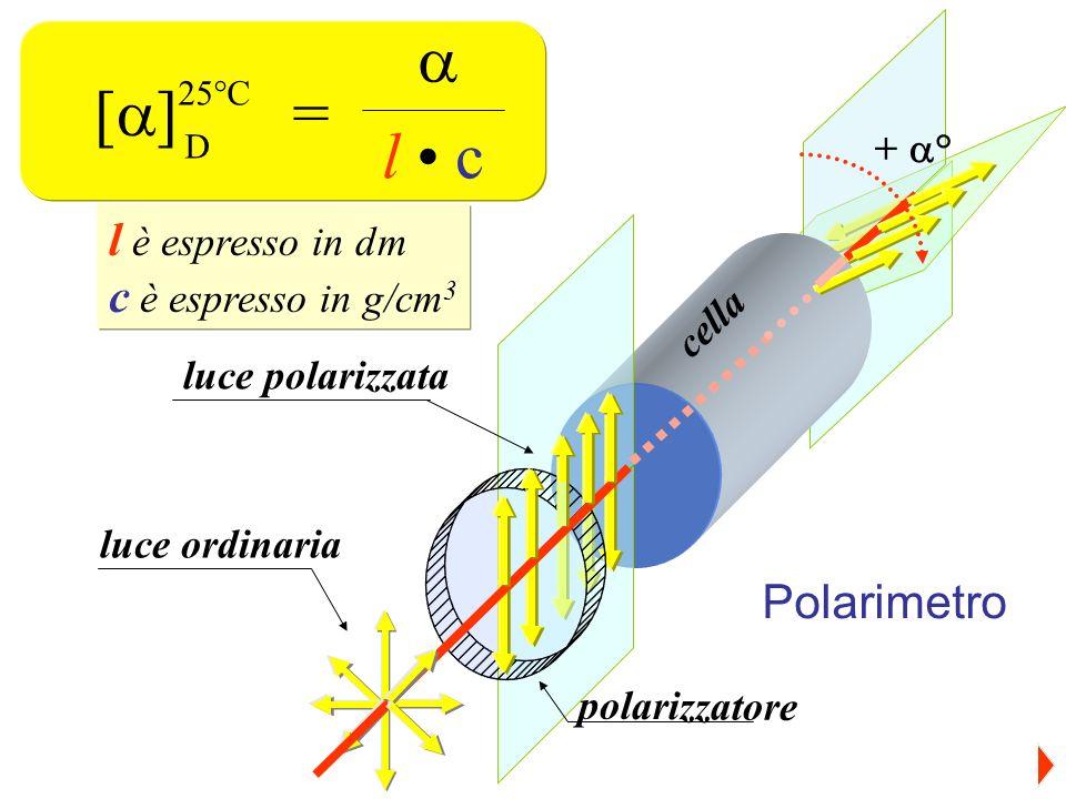 + ° cella polarizzatore luce polarizzata luce ordinaria [ ] = l cl c 25°C D l è espresso in dm c è espresso in g/cm 3 Polarimetro