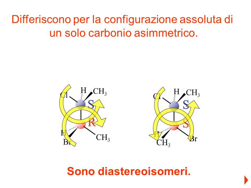 S R CH 3 H Cl CH 3 Br H CH 3 H Cl CH 3 Br HS S Differiscono per la configurazione assoluta di un solo carbonio asimmetrico. Sono diastereoisomeri.