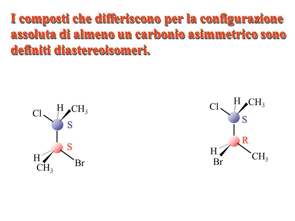SR CH 3 H Cl CH 3 Br H CH 3 H Cl CH 3 Br H SS I composti che differiscono per la configurazione assoluta di almeno un carbonio asimmetrico sono defini