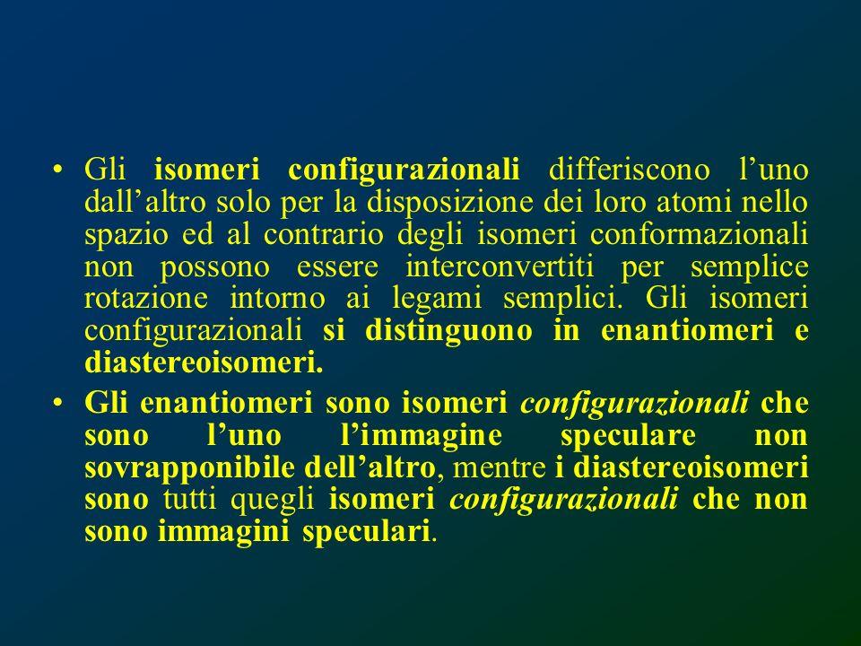 Gli isomeri configurazionali differiscono luno dallaltro solo per la disposizione dei loro atomi nello spazio ed al contrario degli isomeri conformazi