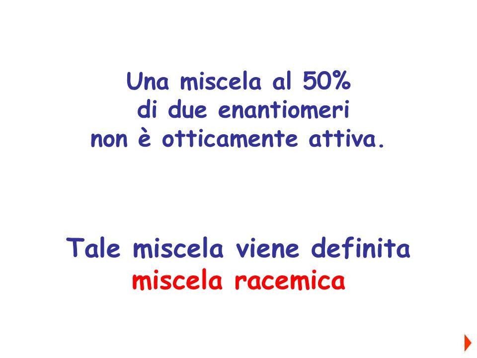 Una miscela al 50% di due enantiomeri non è otticamente attiva. Tale miscela viene definita miscela racemica