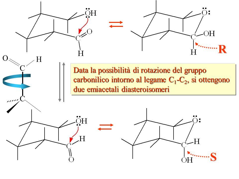 Data la possibilità di rotazione del gruppo carbonilico intorno al legame C 1 -C 2, si ottengono due emiacetali diasteroisomeri S R C H O C