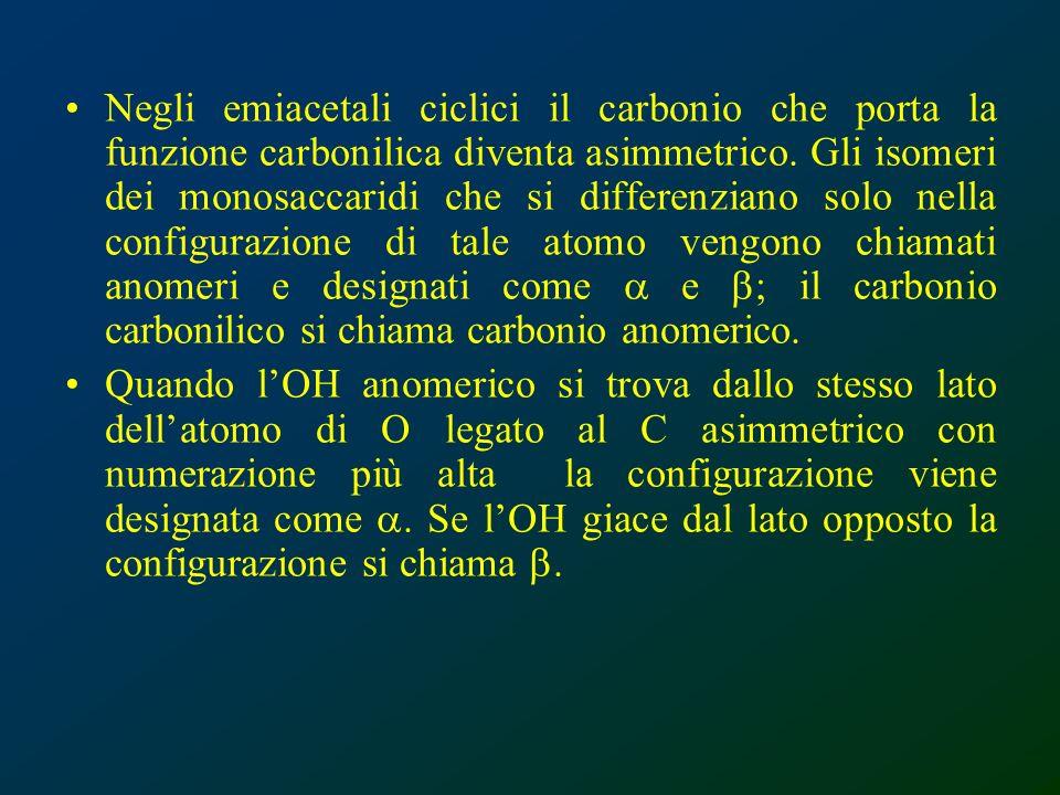 Negli emiacetali ciclici il carbonio che porta la funzione carbonilica diventa asimmetrico. Gli isomeri dei monosaccaridi che si differenziano solo ne