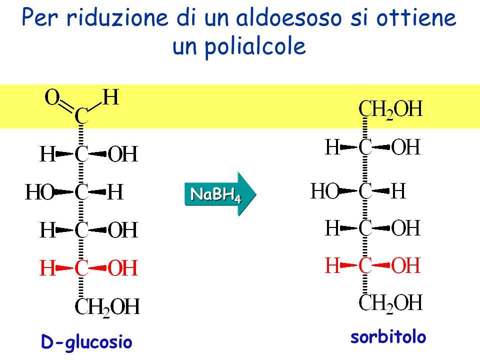D-glucosio sorbitolo Per riduzione di un aldoesoso si ottiene un polialcole NaBH 4